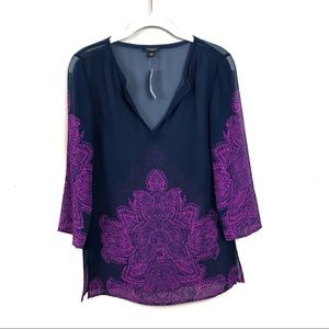 New with tags Ann Taylor navy purple sheer top